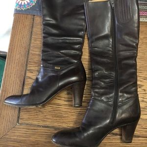 Vintage BALLY Brown Leather knee high boots 6 N